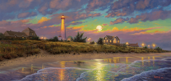Twilight moon Lighthouses Jigsaw Puzzle