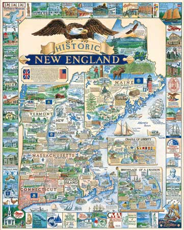 Historic New England Maps / Geography Jigsaw Puzzle