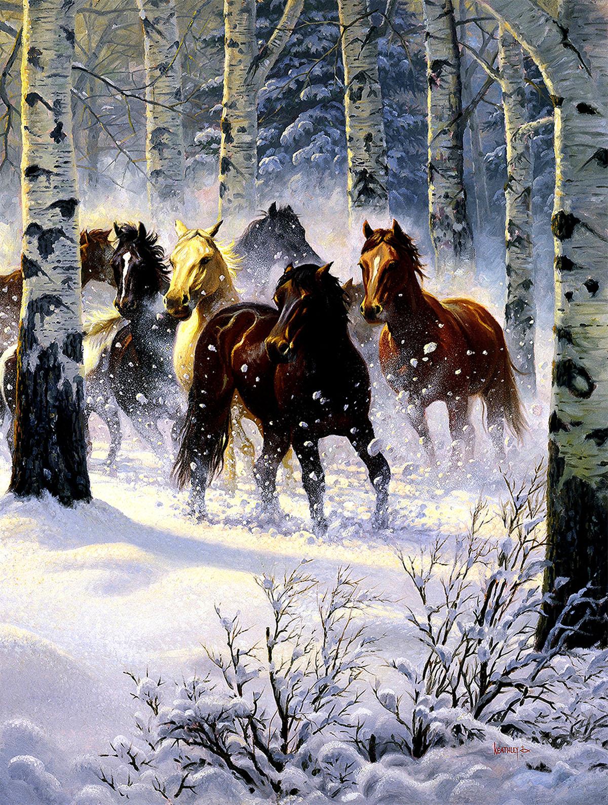Snow Storm Horses Jigsaw Puzzle