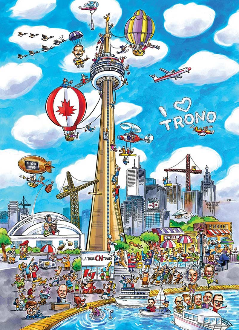 Toronto (Doodle Town) Landmarks / Monuments Jigsaw Puzzle