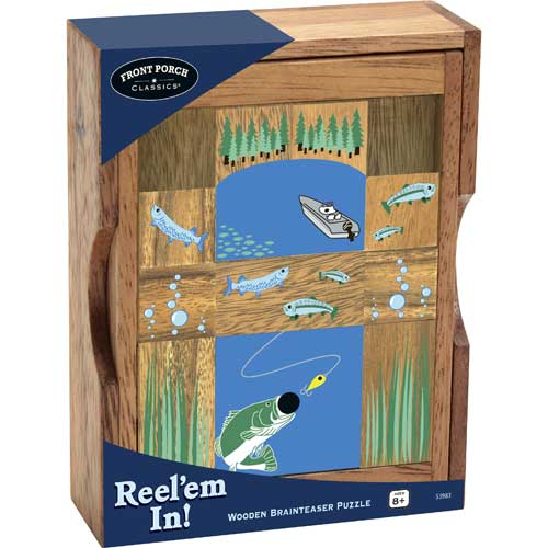 Wooden Brain Teaser - Reel'em in! Marine Life Brain Teaser