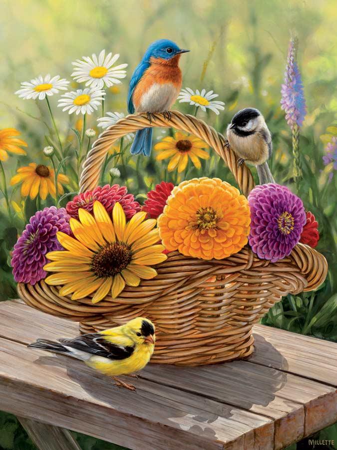 Summer Bouquet Birds Jigsaw Puzzle