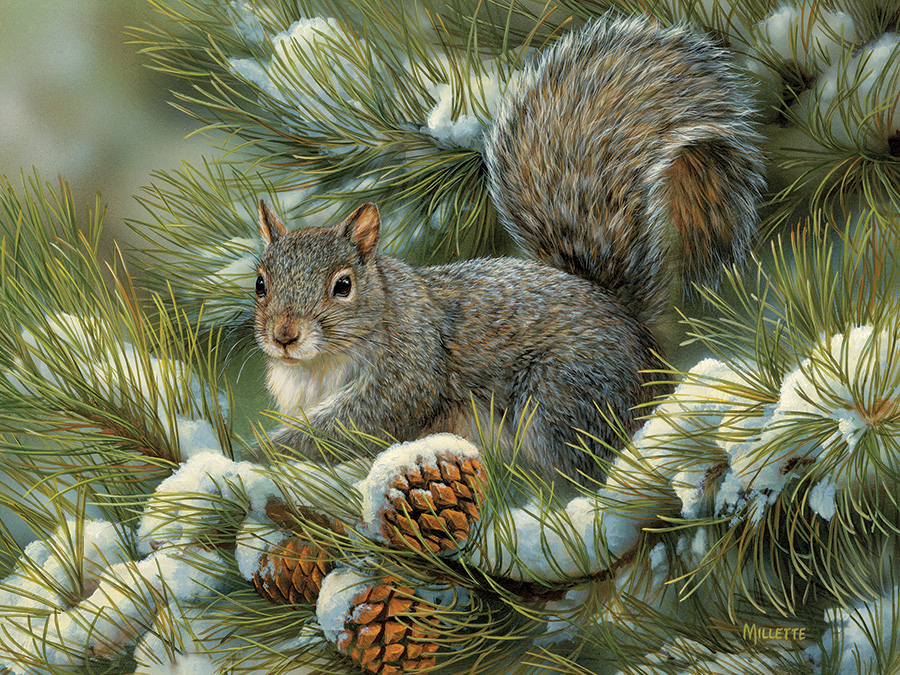 Gray Squirrel Winter Jigsaw Puzzle