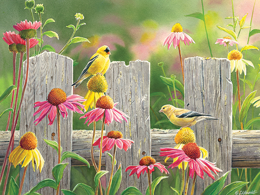 Pink and Gold Birds Jigsaw Puzzle