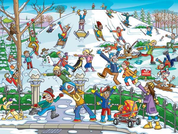 Snow in the Park Cartoons Children's Puzzles