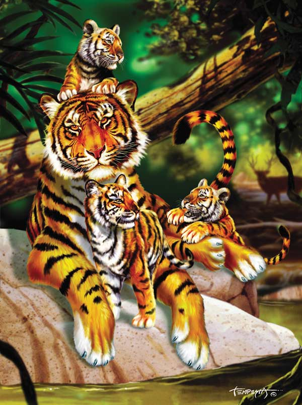Family Vacation Tigers Jigsaw Puzzle
