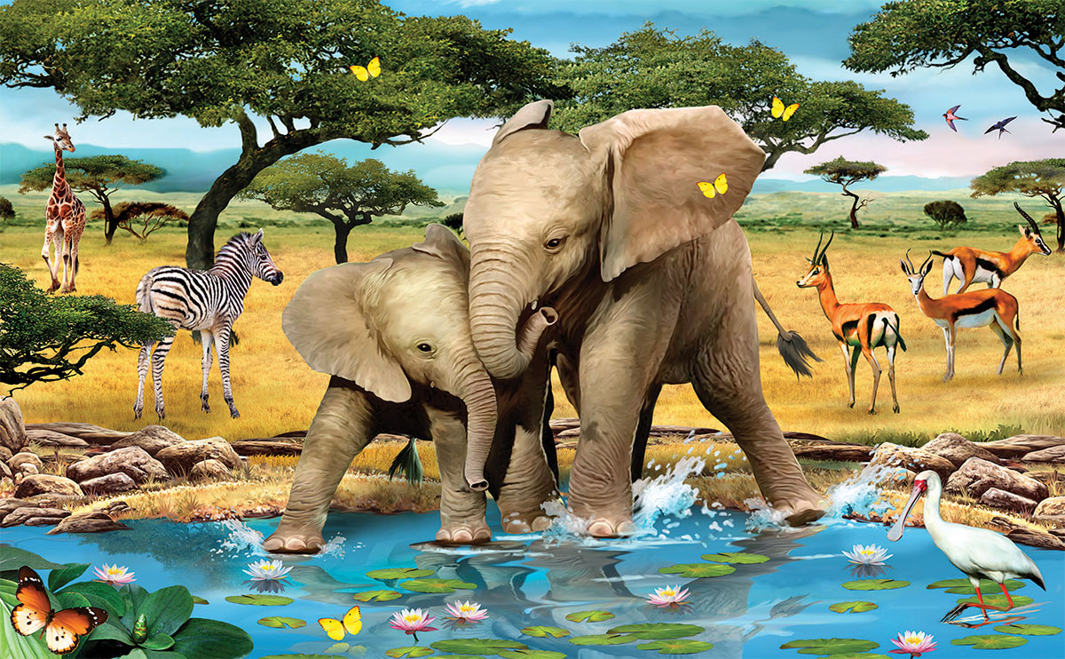 Friends Forever Elephants Jigsaw Puzzle