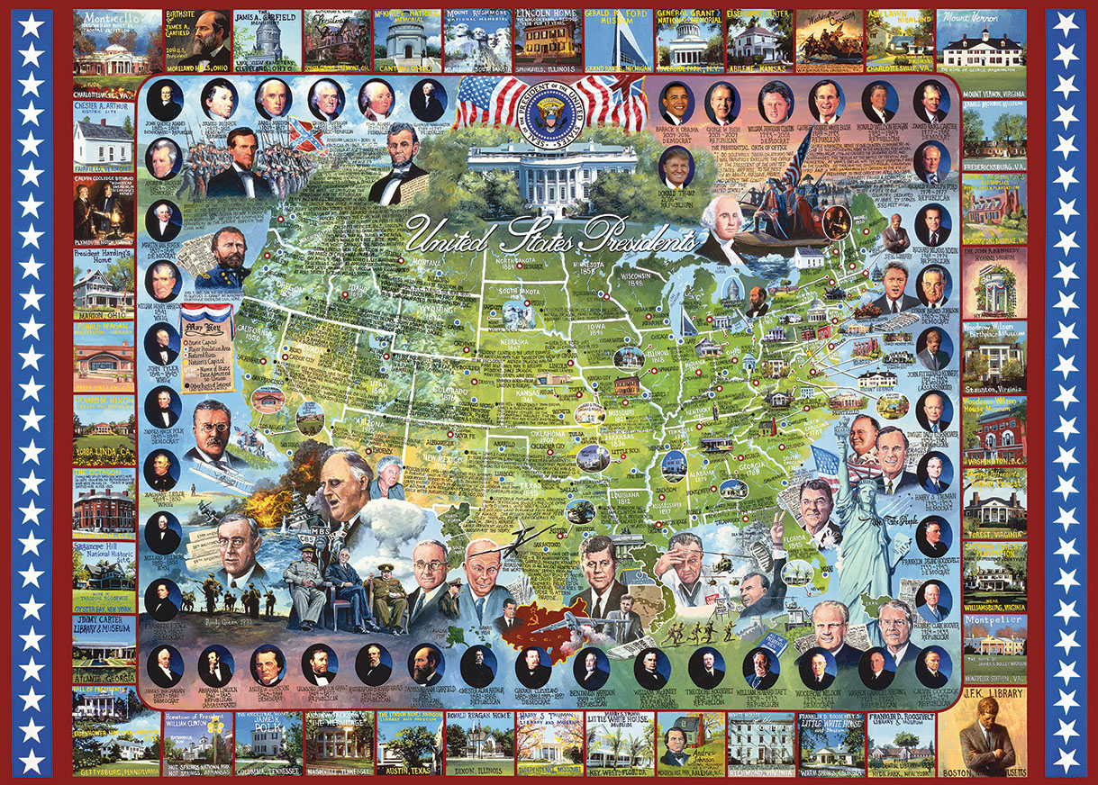 United states presidents jigsaw puzzle for Presidents and their home states