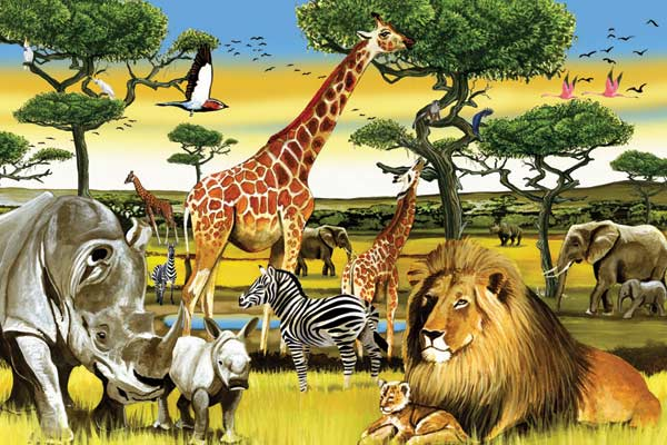 African Plains - Scratch and Dent Jungle Animals Floor Puzzle