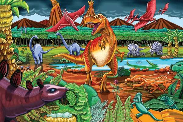 Dinosaur Volcano Dinosaurs Jigsaw Puzzle
