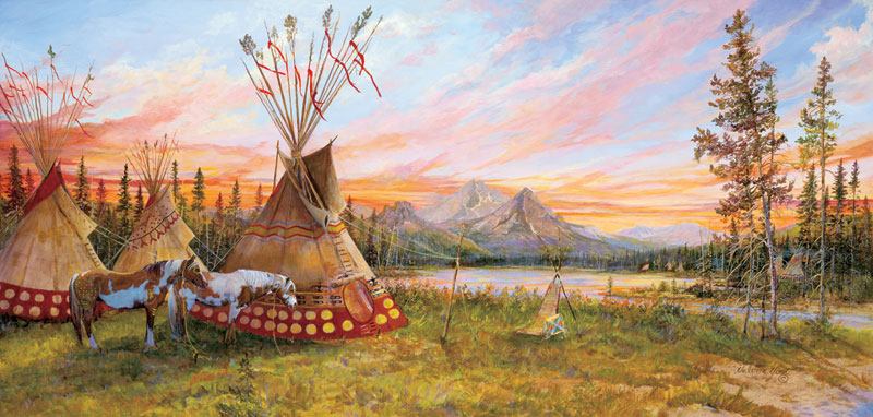 Evening Fire Native American Jigsaw Puzzle