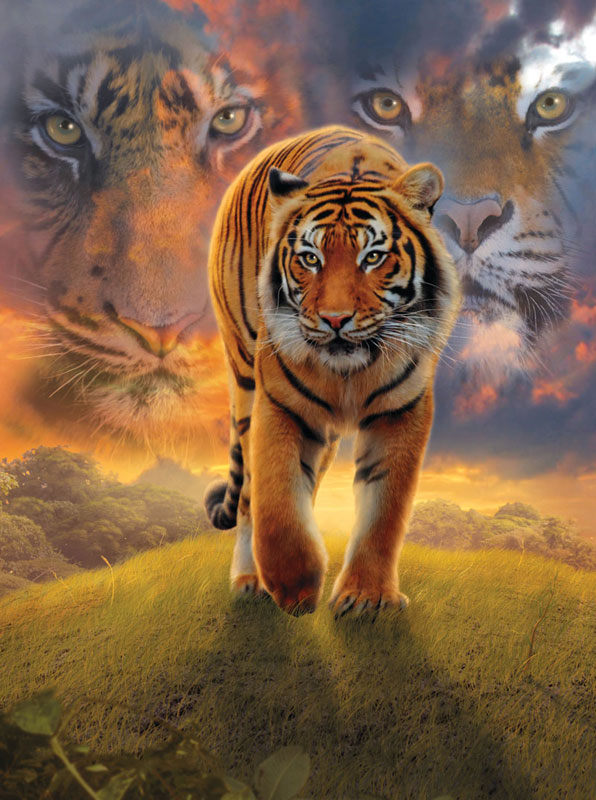Burning Bright Jungle Animals Jigsaw Puzzle
