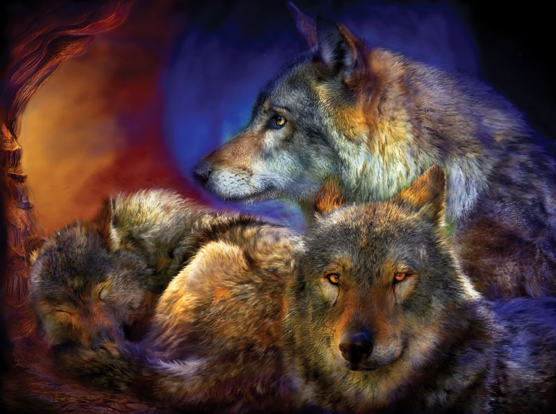 Beneath a Blue Moon Wolves Jigsaw Puzzle