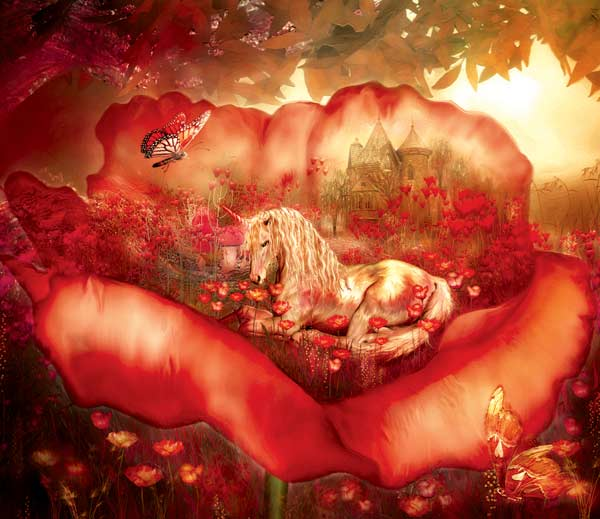 Unicorn of Poppies Fantasy Jigsaw Puzzle