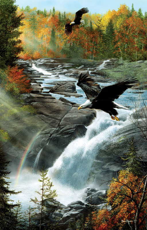 Eagles at the Waterfall Eagles Jigsaw Puzzle