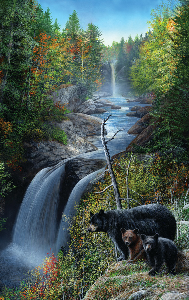 Bears at the Waterfall - Scratch and Dent Wildlife Jigsaw Puzzle