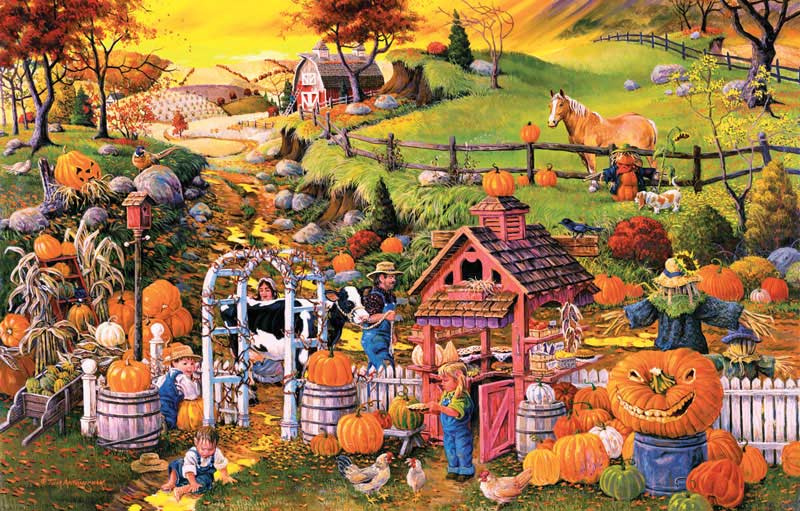 Playing in Autumn Water Puddles Fall Jigsaw Puzzle