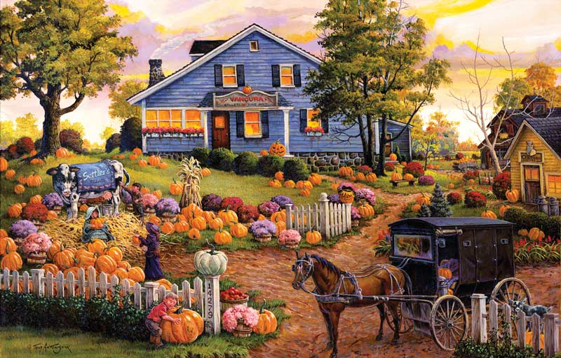 The Cow and the Pumpkin Farm Countryside Jigsaw Puzzle