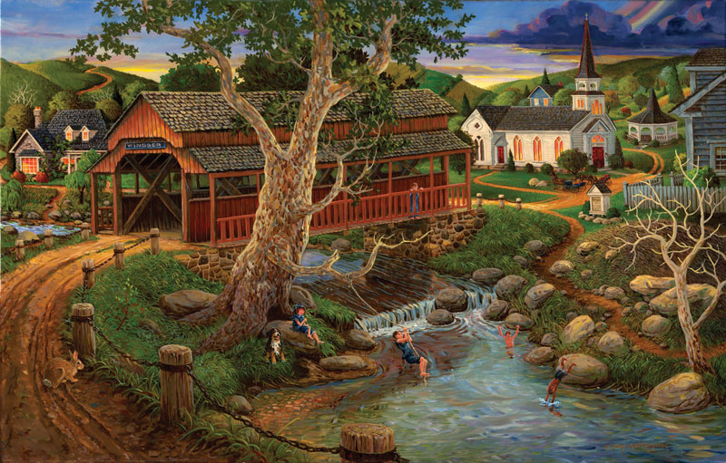 Playing Hookie Countryside Jigsaw Puzzle