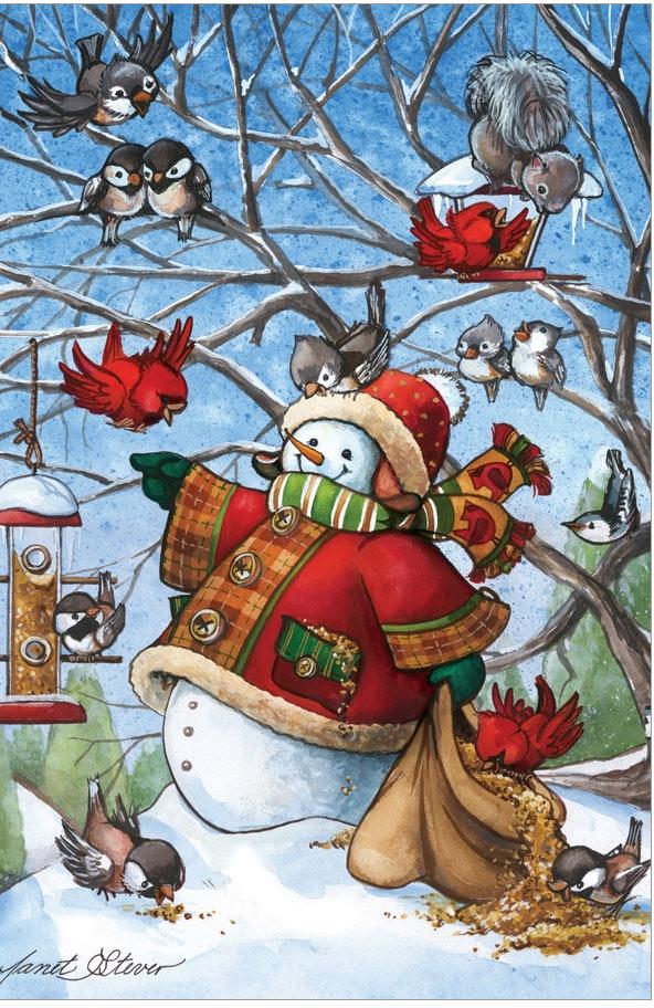 Birdfeeder Snowman - Scratch and Dent Birds Jigsaw Puzzle