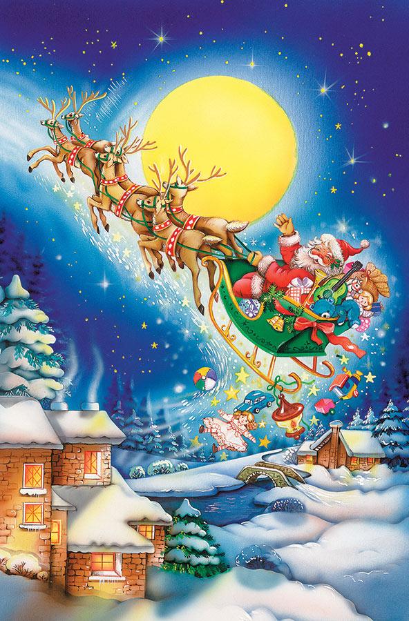 Santa on a Moonlit Night Santa Jigsaw Puzzle
