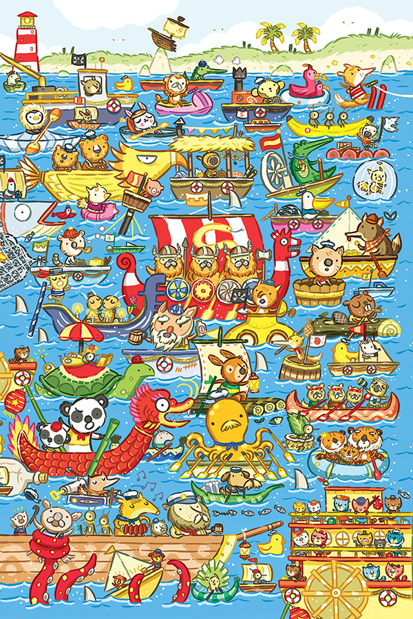 Boat Race Animals Jigsaw Puzzle