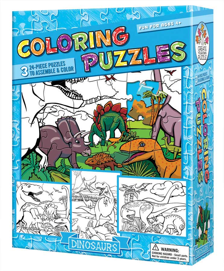 Coloring Puzzles: Dinosaurs Dinosaurs Arts and Crafts