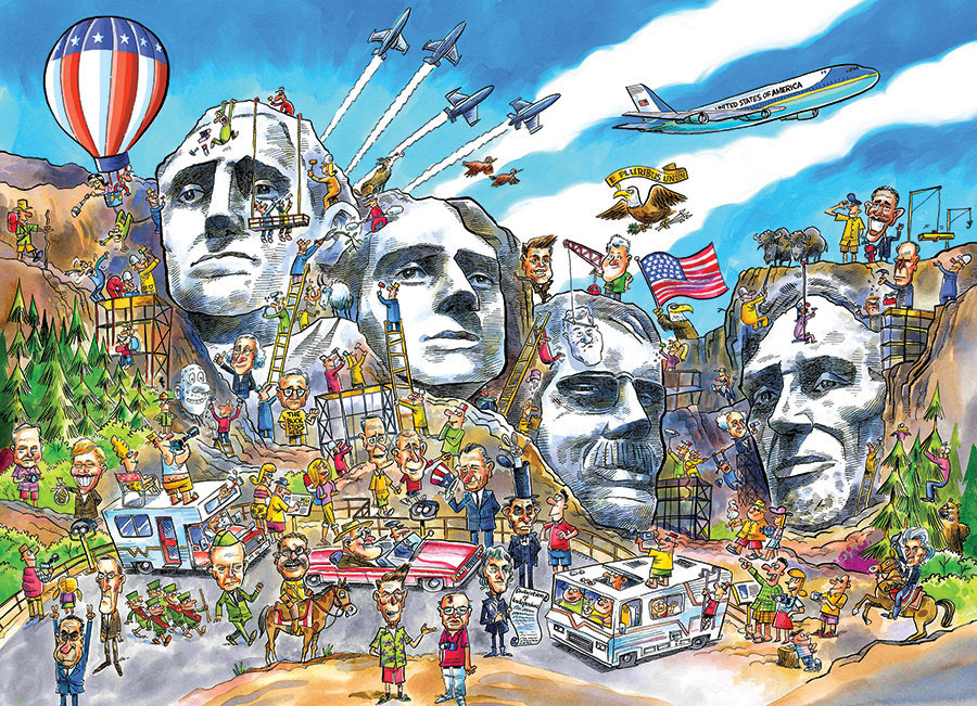 Mount Rushmore Doodle Town Jigsaw Puzzle