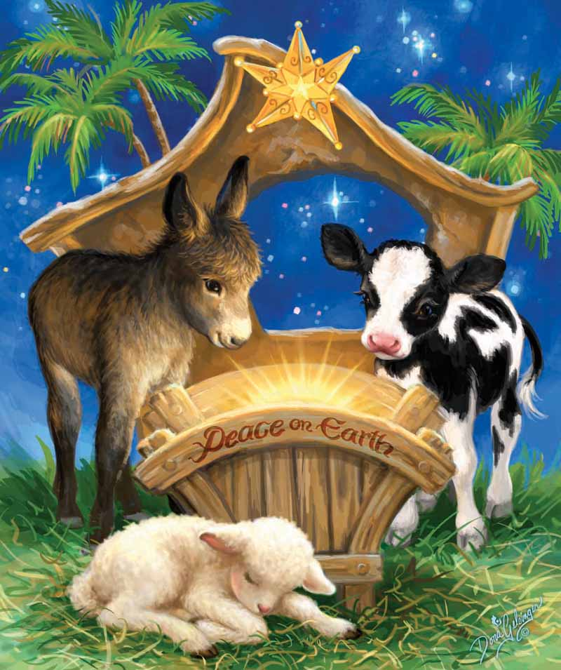 Born in a Manger - Scratch and Dent Animals Jigsaw Puzzle