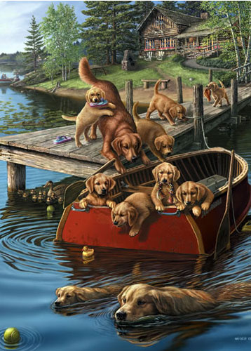 Dog Paddle Dogs Jigsaw Puzzle