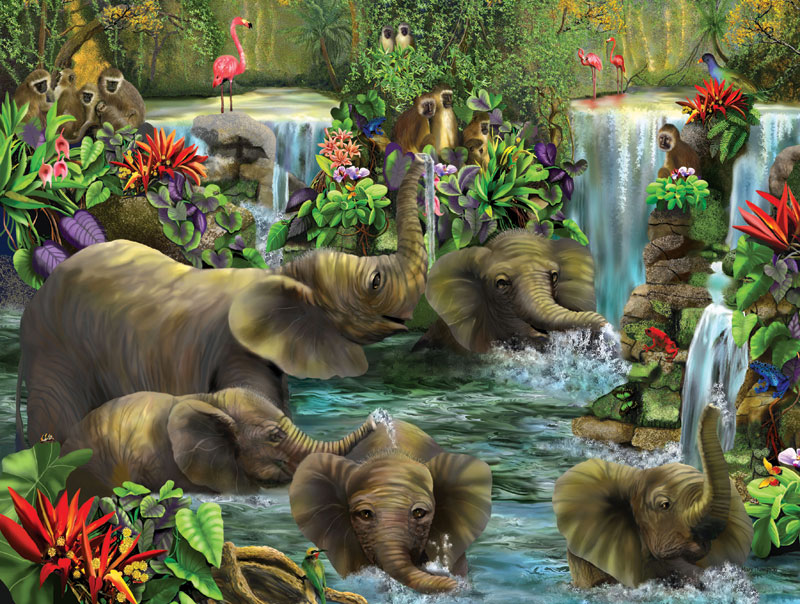 Baby Elephant Pool Jungle Animals Jigsaw Puzzle