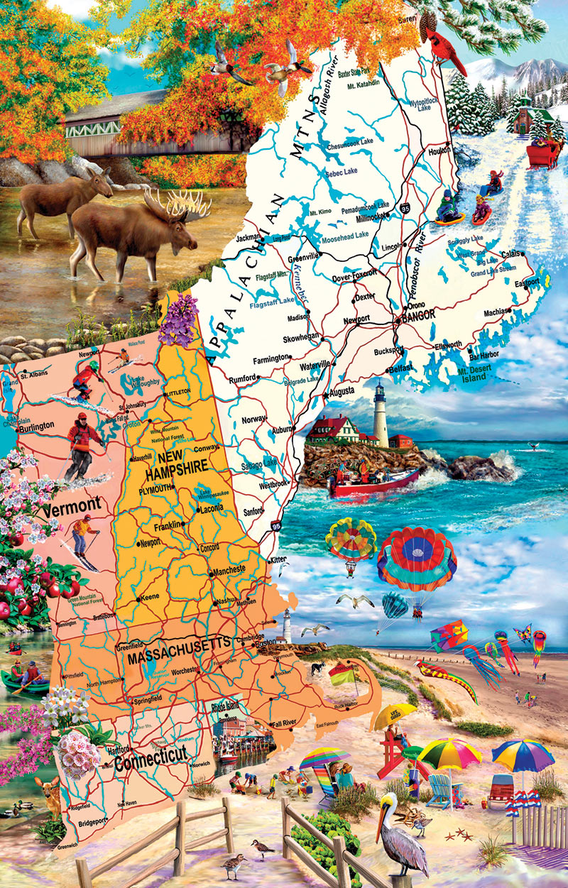 New England Road Trip Beach Jigsaw Puzzle