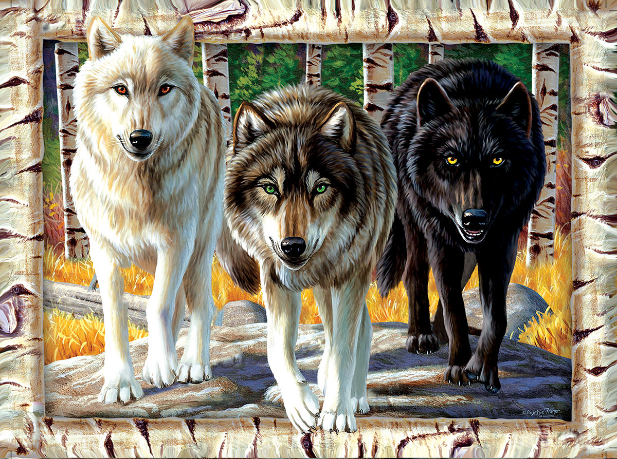Wolf Pack Colors Wolves Jigsaw Puzzle