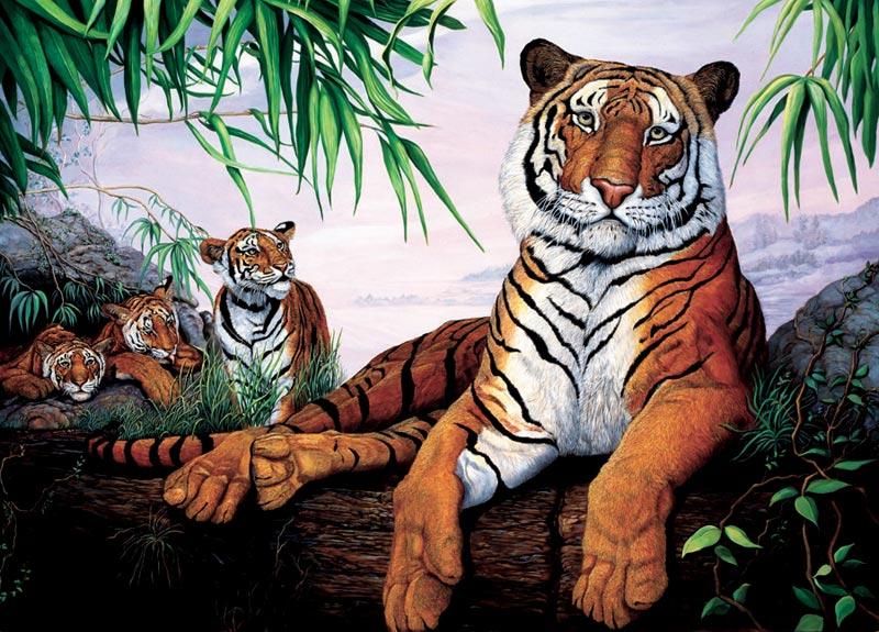 Tiger Family, (tray) Jungle Animals Jigsaw Puzzle