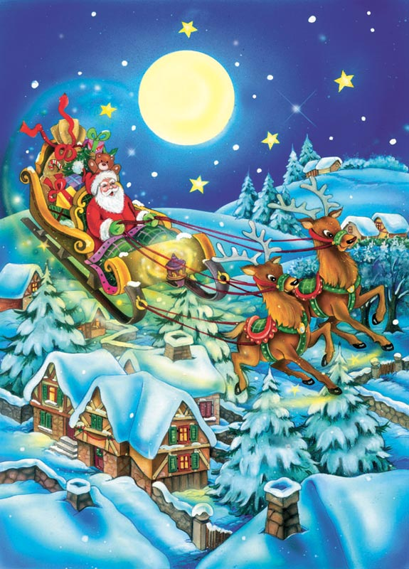 Moonlight Santa Christmas Jigsaw Puzzle