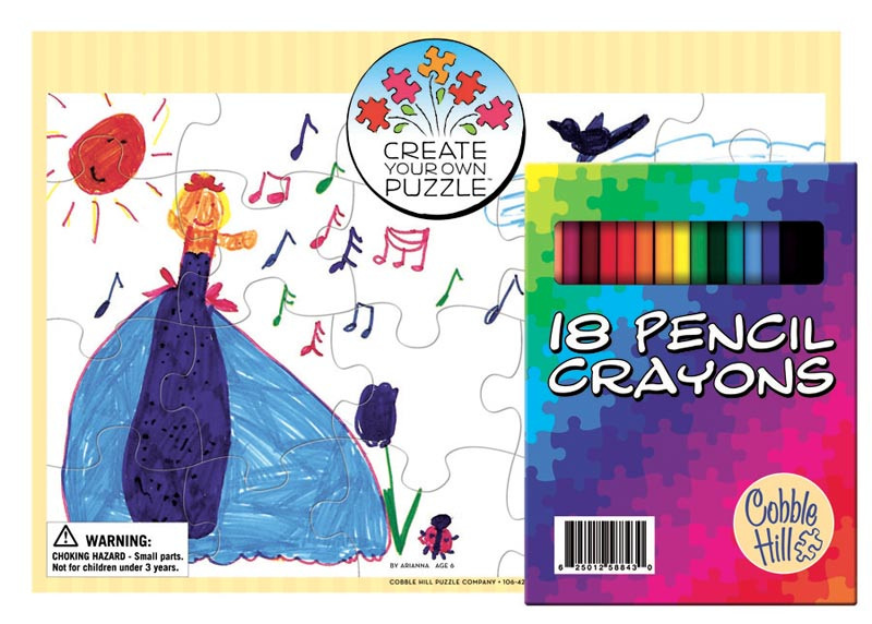 Create Your Own Puzzle - 2 pack w/18 Pencil Crayons Educational Arts and Crafts