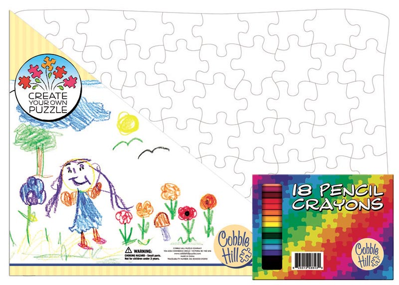 Create Your Own Large Tray Puzzle w/Crayons Arts and Crafts
