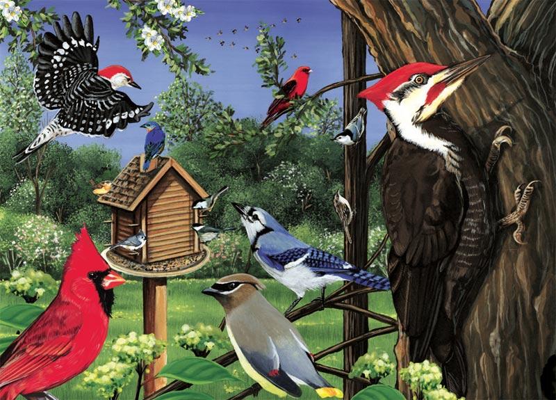 Around The Birdfeeder Birds Jigsaw Puzzle