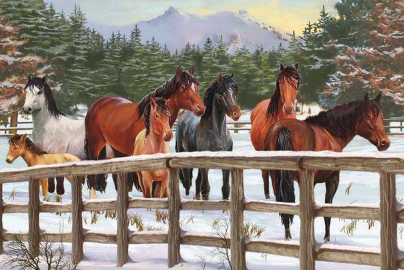 Snowy Pasture Horses Jigsaw Puzzle