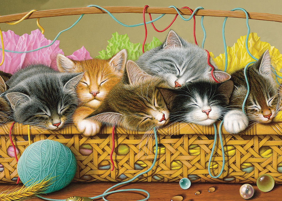 Kittens in Basket Cats Jigsaw Puzzle