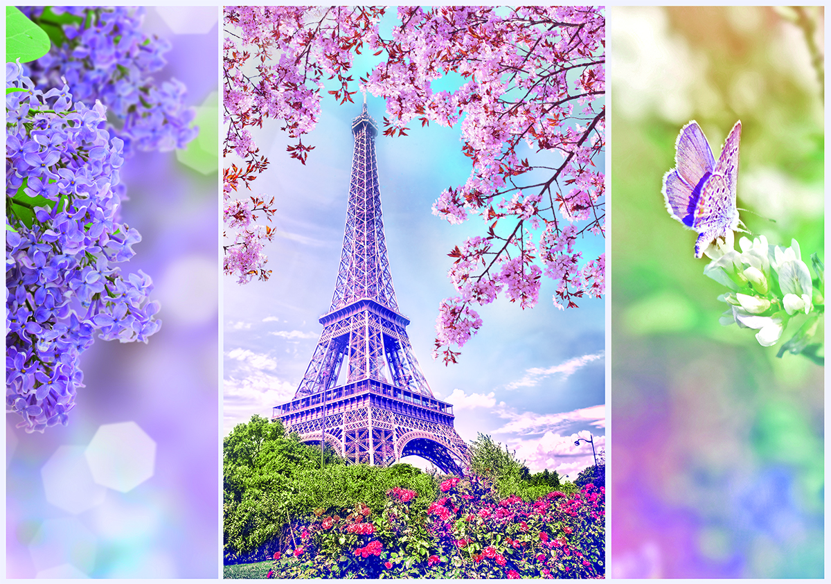 Romantic Spring In Paris Landmarks / Monuments Jigsaw Puzzle