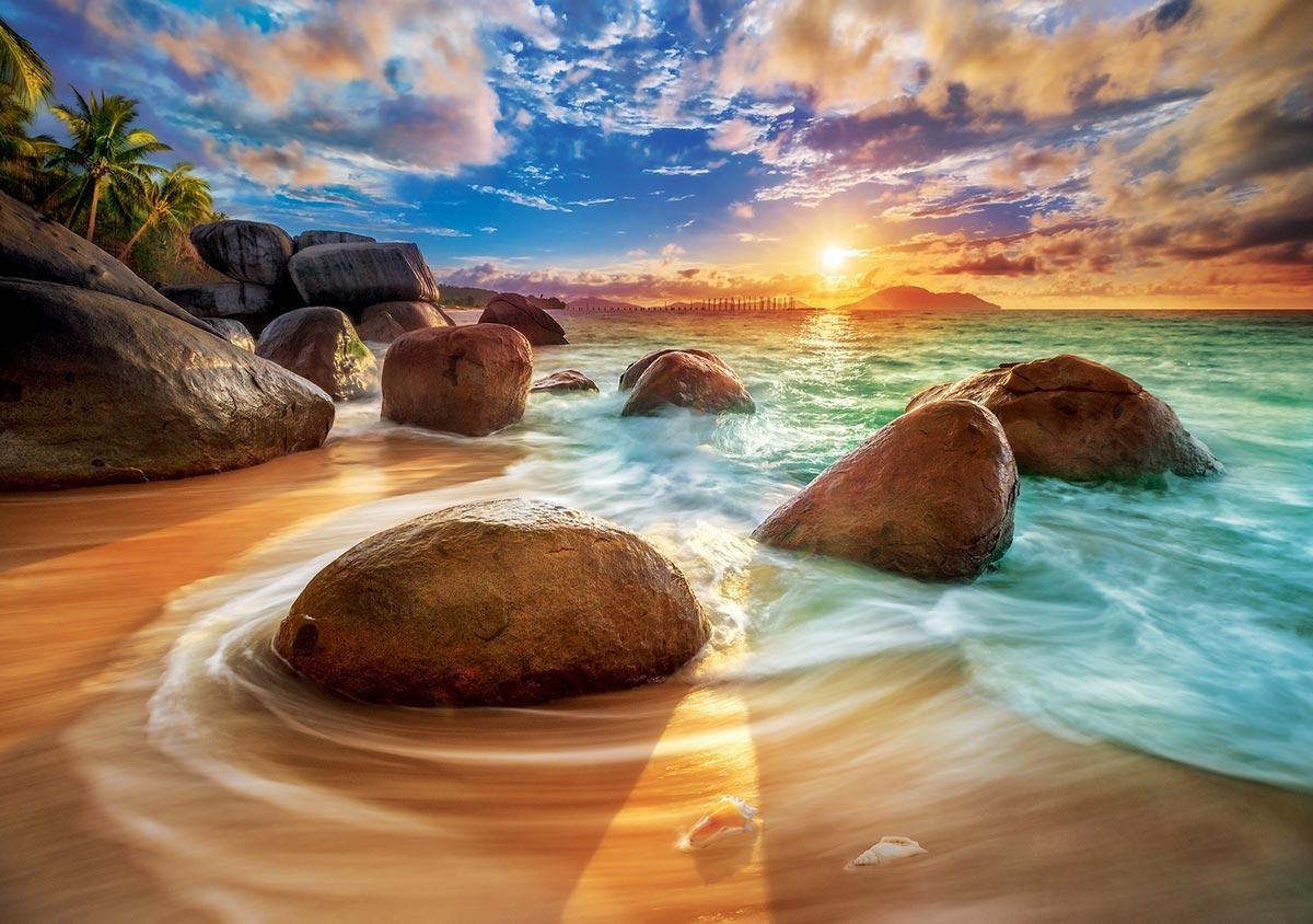Samudra Beach, India / Plage de Samudra, Inde Travel Jigsaw Puzzle