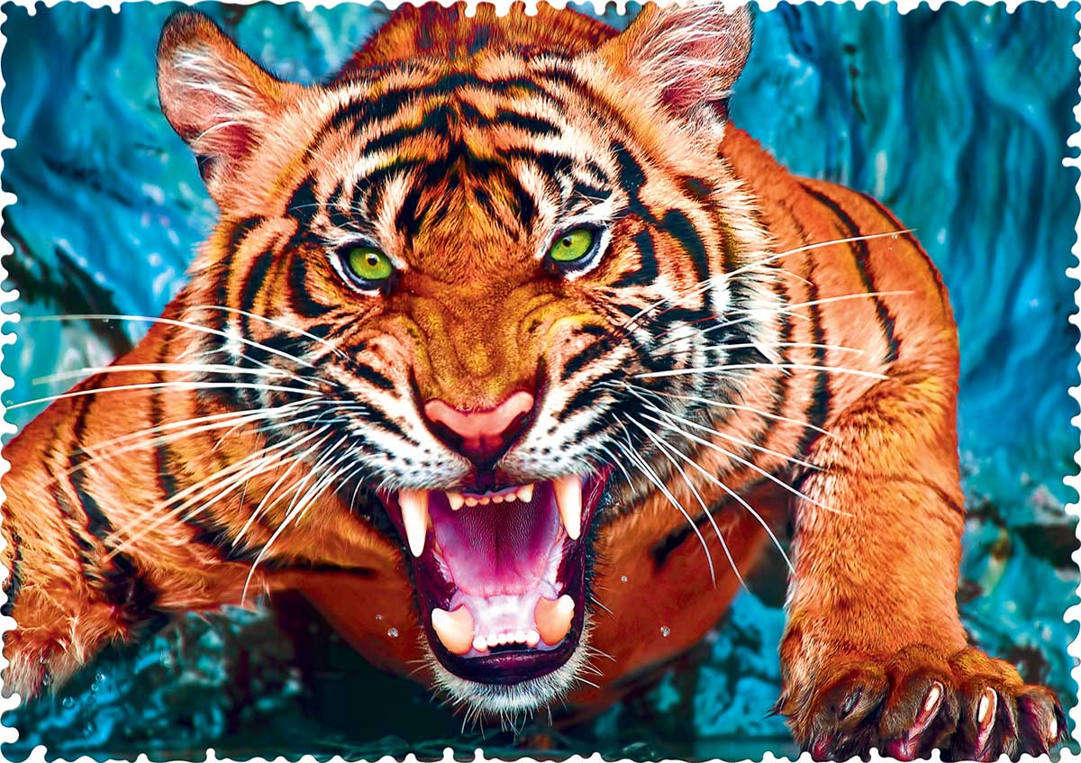 Facing a Tiger Animals Jigsaw Puzzle