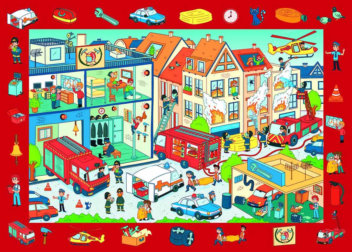 Observation Fire Station / Caserne de pompier Educational Jigsaw Puzzle