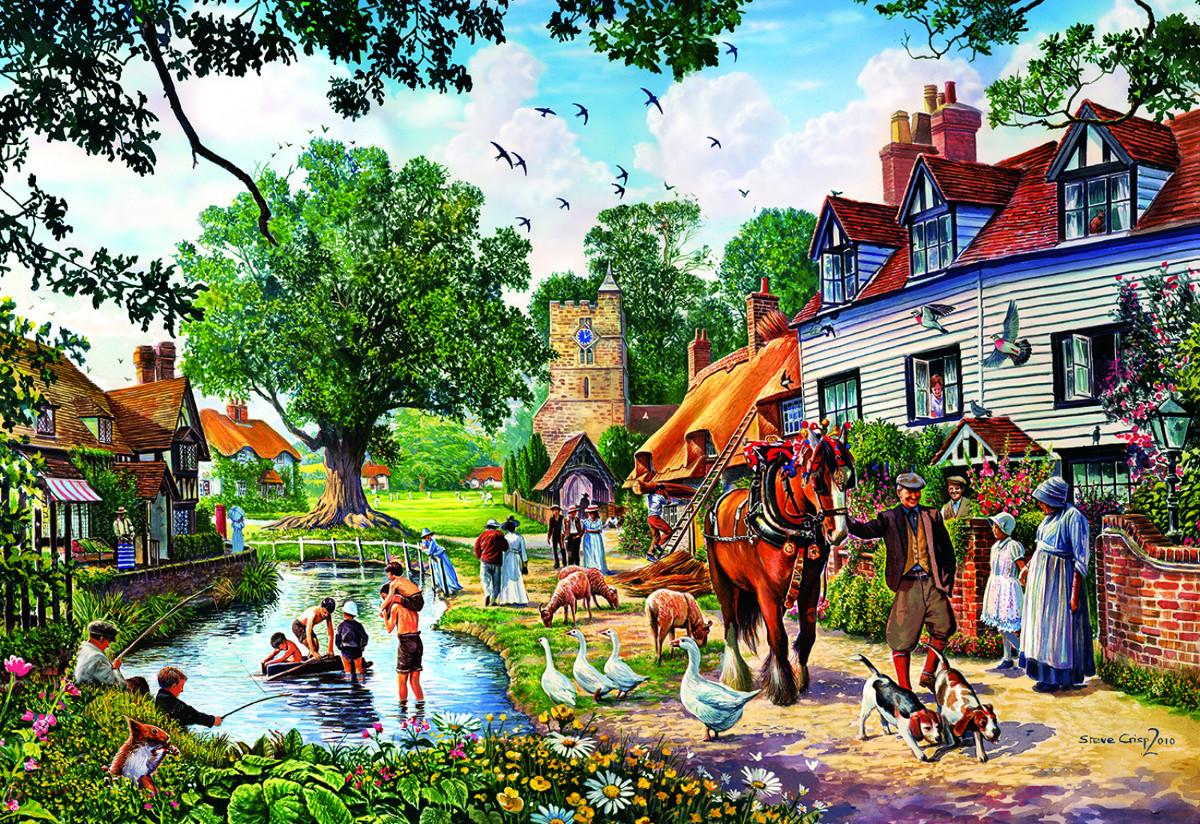 Rural Idyll Nostalgic / Retro Jigsaw Puzzle