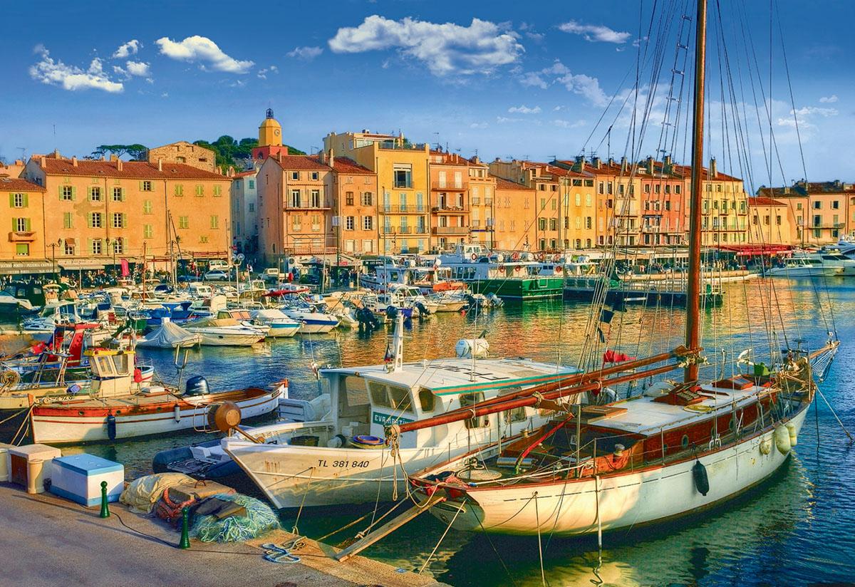 Old Port St-Tropez / Vieux port St-Tropez Seascape / Coastal Living Jigsaw Puzzle