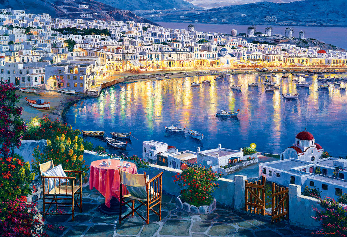 Mykonos at Sunset / Mykonos au crépuscule Travel Jigsaw Puzzle