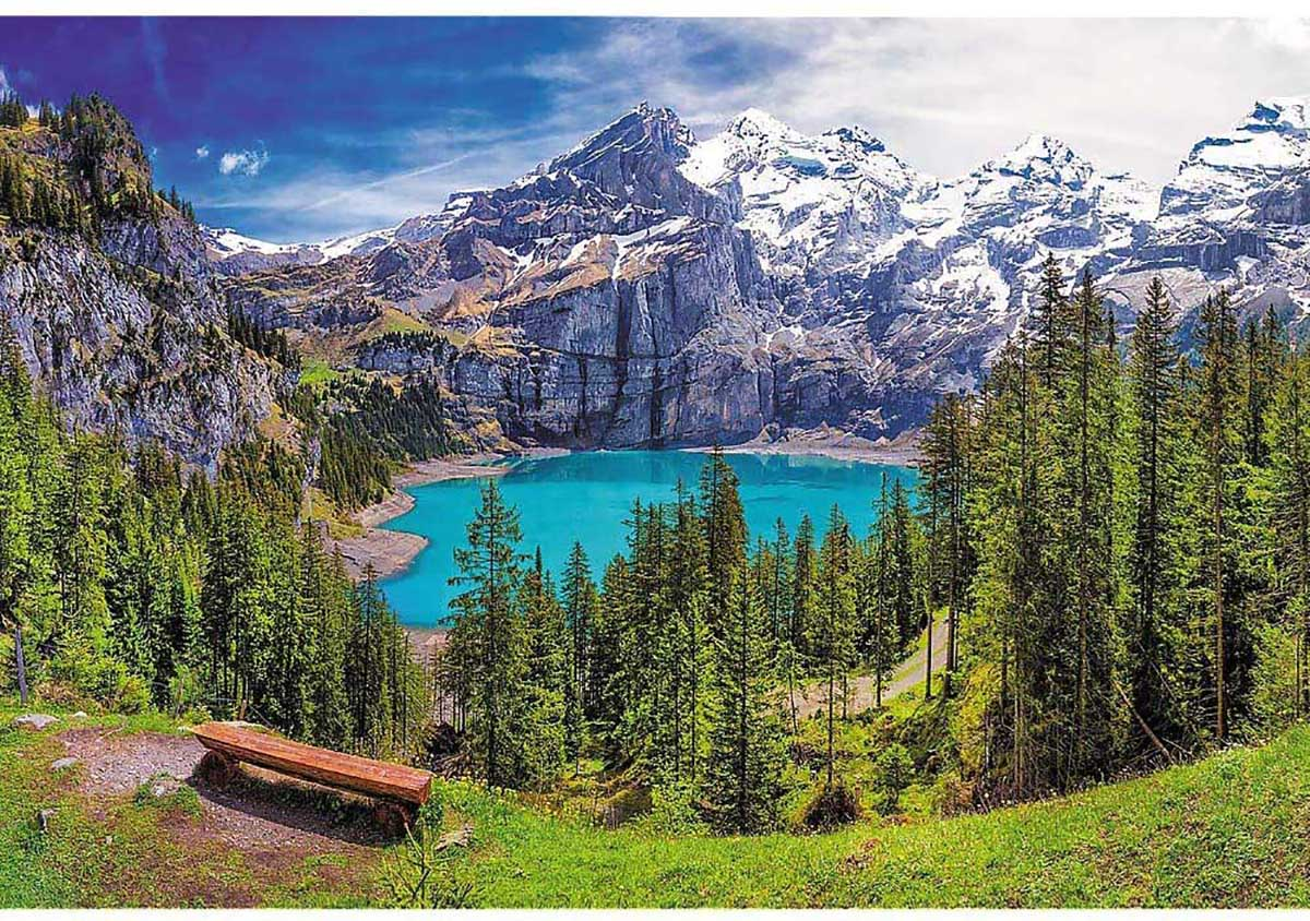 Lake Oeschinen, Alps, Switzerland Mountains Jigsaw Puzzle