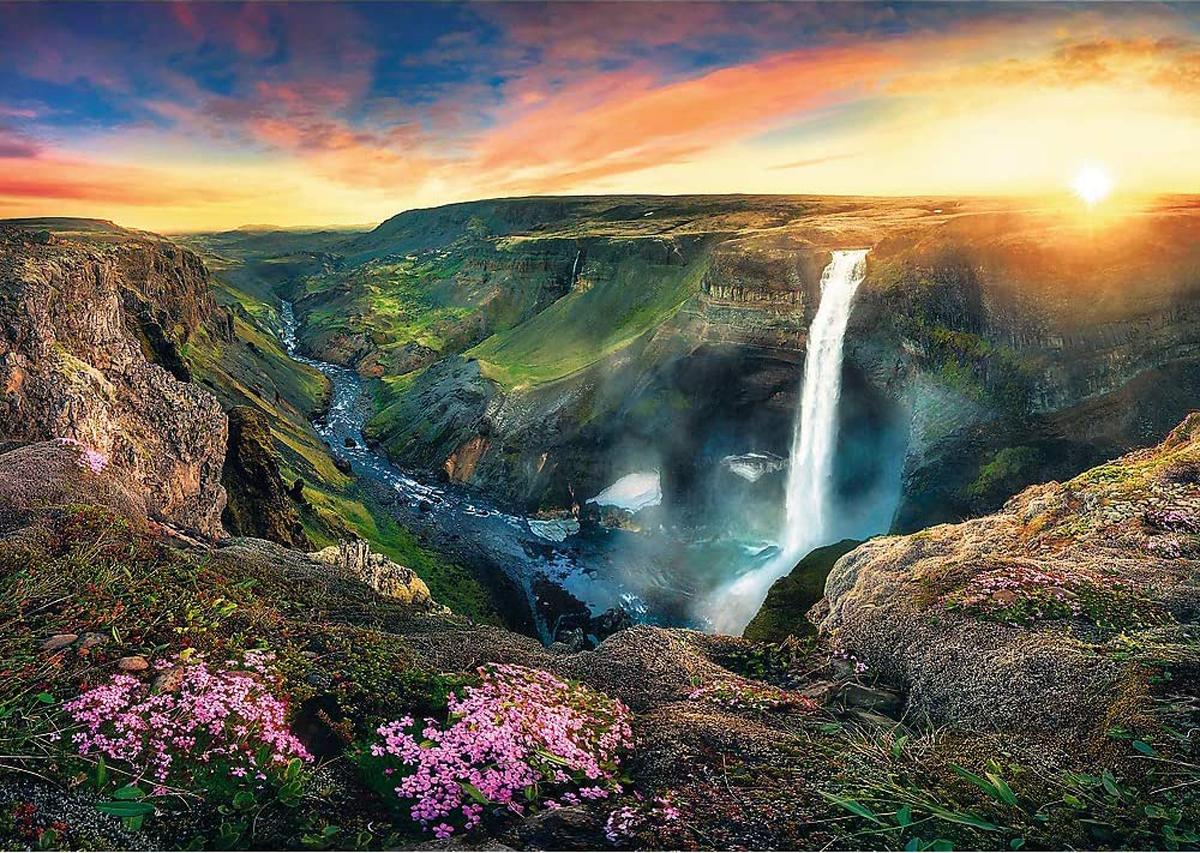 Háifoss Waterfall, Iceland Nature Jigsaw Puzzle