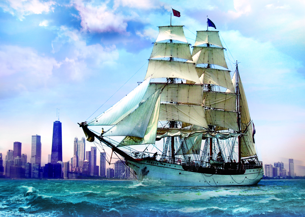 Sailing Towards Chicago Skyline / Cityscape Jigsaw Puzzle